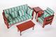 現代風綠格子沙發組--3人座+1人座+1茶几+1邊桌