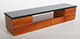 現代式電視櫃/柚木色+黑色亮面桌面