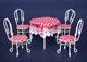 白色鐵桌+4圓椅/附紅白格子桌布及椅墊