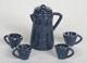 藍噴白點咖啡壺+4小杯